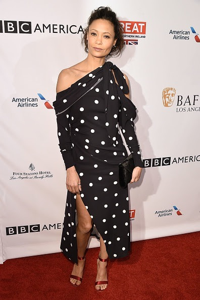 LOS ANGELES, CA - JANUARY 07: Thandie Newton attends The BAFTA Tea Party - Arrivals at Four Seasons Hotel Los Angeles at Beverly Hills on January 7, 2017 in Los Angeles, California. (Photo by David Crotty/Patrick McMullan via Getty Images)