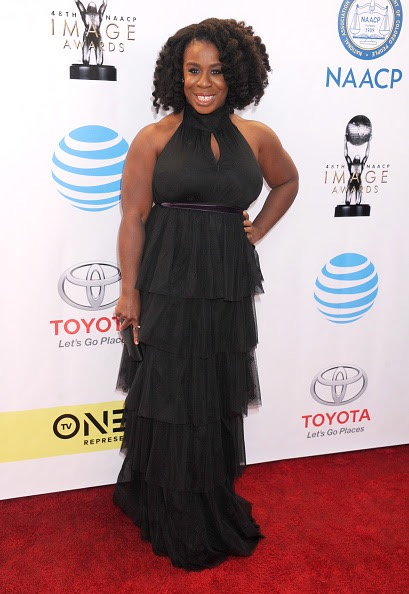PASADENA, CA - FEBRUARY 11:  Uzo Aduba arrives at the 48th NAACP Image Awards at Pasadena Civic Auditorium on February 11, 2017 in Pasadena, California.  (Photo by Gregg DeGuire/WireImage)