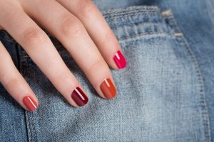 Red-Nails-with-Denim
