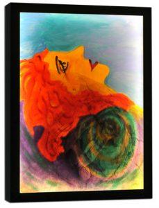 Optimism Acrylic painting on poplar wood, print on plexiglass and LED lighting