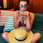 Lea Michele Wore Horizon Swim While Relaxing in the Sun