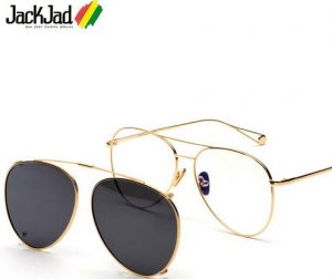 JackJad 2018 Fashion Double Layer Clip On Lens Aviator Style Sunglasses