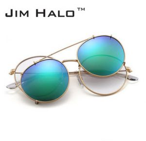 Jim Halo Round Polarized Clip On Sunglasses Metal Frame Mirror Circle Lens Men Women Retro Vintage Steampunk Sun Glasses