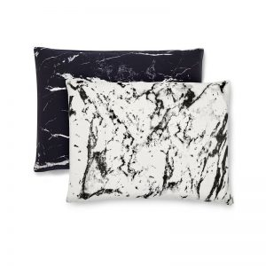 SHHH SILK Queen Marble Silk Pillowcases (Set of 2), $149.00 Available in three colors – Mixed Marble, White Marble & Black Marble. Also available in King Size.
